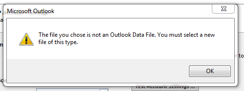 Oullook doesn't like data file