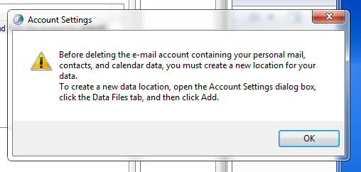 cant delte outlook acct