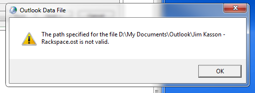 outlook path not valid