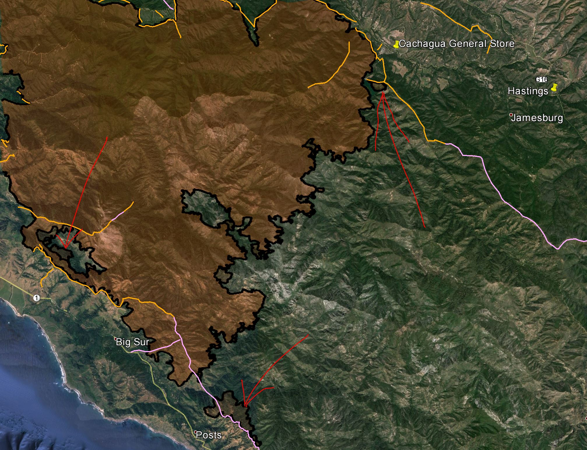 Soberanes Fire aerial/MODIS/VIIRS data — 0630 8/13