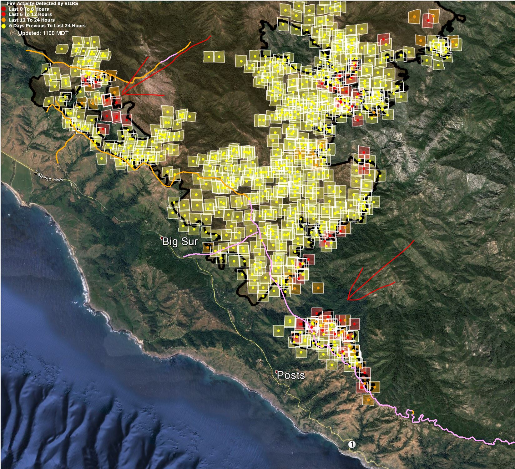 Soberanes Fire MODIS/VIIRS data — 1030 8/13