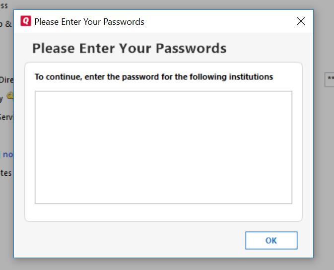 Quicken DirectConnect password blues