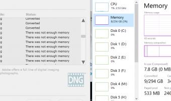 Adobe DNG Converter memory workaround